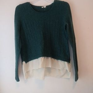 Moth Anthropologie sweater sheer bottom hi low L
